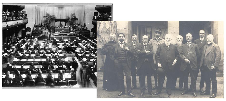 Henri Sellier, maire de Suresnes, et le Dr Florentinus Marinus Wibaut, échevin d'Amsterdam, réactivent l'Union Internationale des Villes après la Première Guerre mondiale, 1920