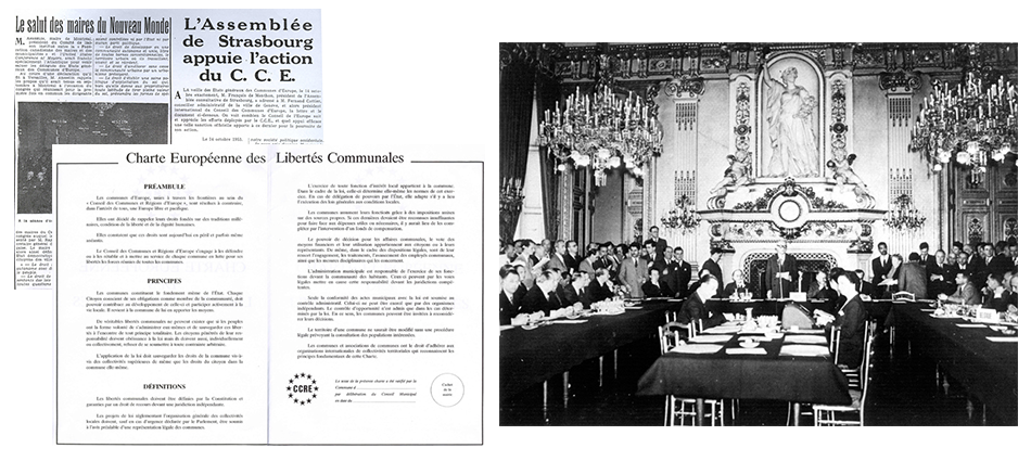 The first General Meeting of CEM is held in Versailles and results in the publication of the European Charter of Communal Freedoms, 1953