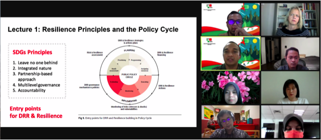 "UCLG-ASPAC presenter introduces ""Resilience Principles & the Policy Cycle"" lecture. slide highlights 5 SDG principles + DRR & resilience policy cycle entry points"
