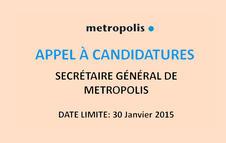 L'association METROPOLIS cherche son nouveau Secrétaire général