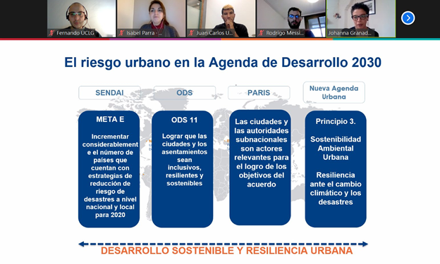 Shared screen with a graphic on urban risk and the 2030 AGenda