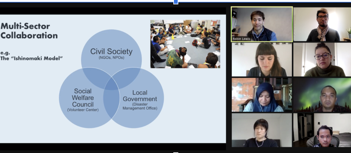 """Zoom meeting with a slide about the """"Ishinomaki Model"""" of collaboration between Civil Society, Social Welfare Council and Local Government."""