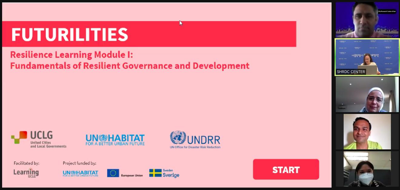 El juego de roles Futuribles, desarrollado para el Módulo de Aprendizaje de Resiliencia (I) de CGLU, UNDRR y ONU-Habitat, facilitó debates esclarecedores sobre el proceso de toma de decisiones de los GLR y las herramientas necesarias para integrar la resiliencia y las visiones a largo plazo en el ciclo de políticas locales.