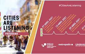 Programa #CitiesAreListening a la derecha logo e imagen de una ciudad. A la derecha prorgama con todas las fechas en abril