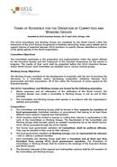 Terms of reference for the operation of Committees and Working Groups