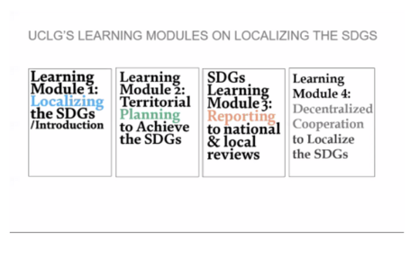 Image 1: Cover of the four learning modules on Localizing the SDGs: 1) Introduction, 2) Planning, 3) Reporting, and 4) Decentralized Cooperation.