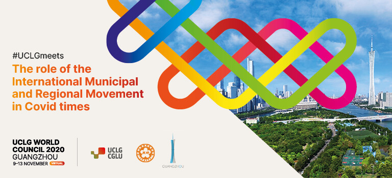 THE GUANGZHOU UCLG 2020 WORLD COUNCIL. Banner with colorful background.